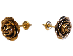 Small Mid Karat Rose Earrings
